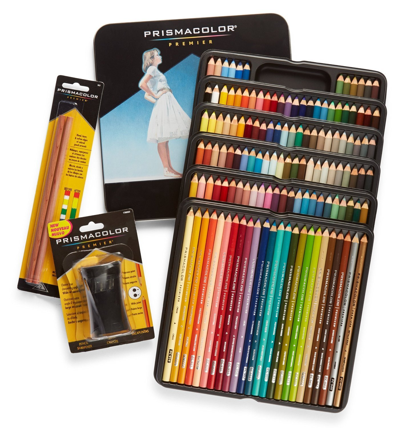 Prismacolor Premier Colored Pencils, Soft Core, 132 Pack (4484) with 2 Blender Pencils (962) & Pencil Sharpener (1786520)