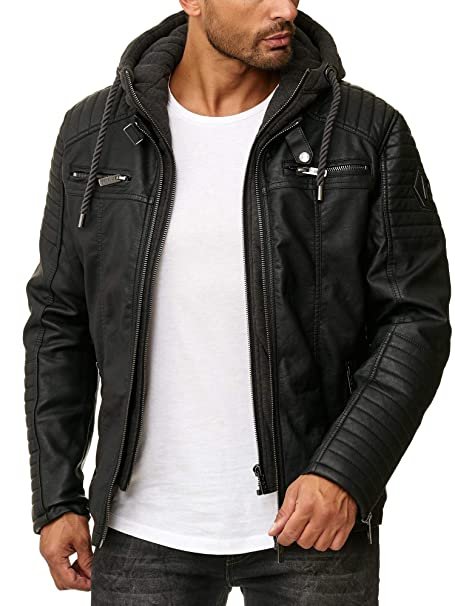 Casual À Jacket Bridge En Red Capuche Biker Similicuir Hommes Veste WwYfnpS8q