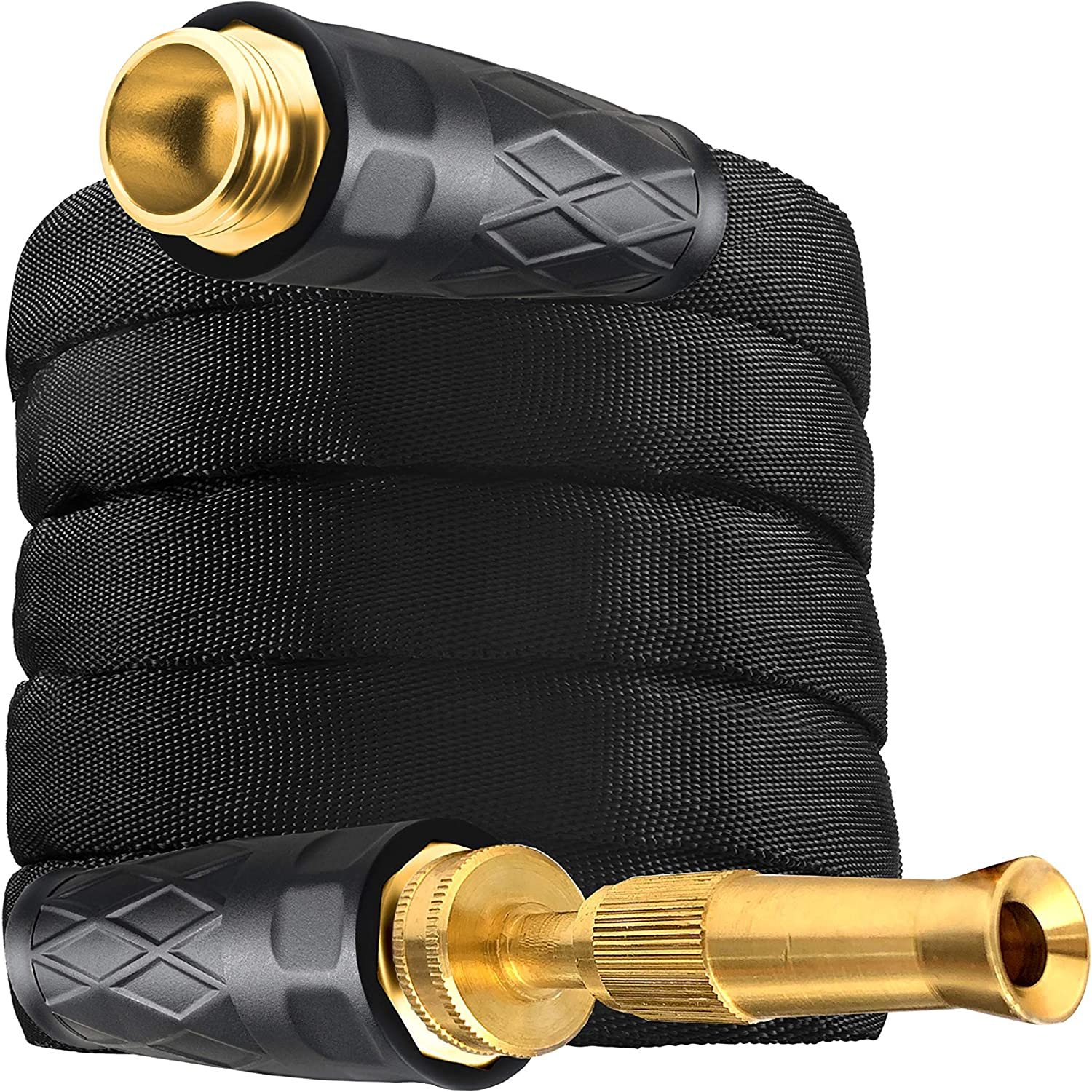 Bionic Force Pro 2535 Hose – Flexible, Lightweight Heavy-Duty Garden Hose & Spraying Nozzle Made of High Performance MXZ-7 Fiber with Crush Resistant Brass Fittings, 100', As Seen on TV