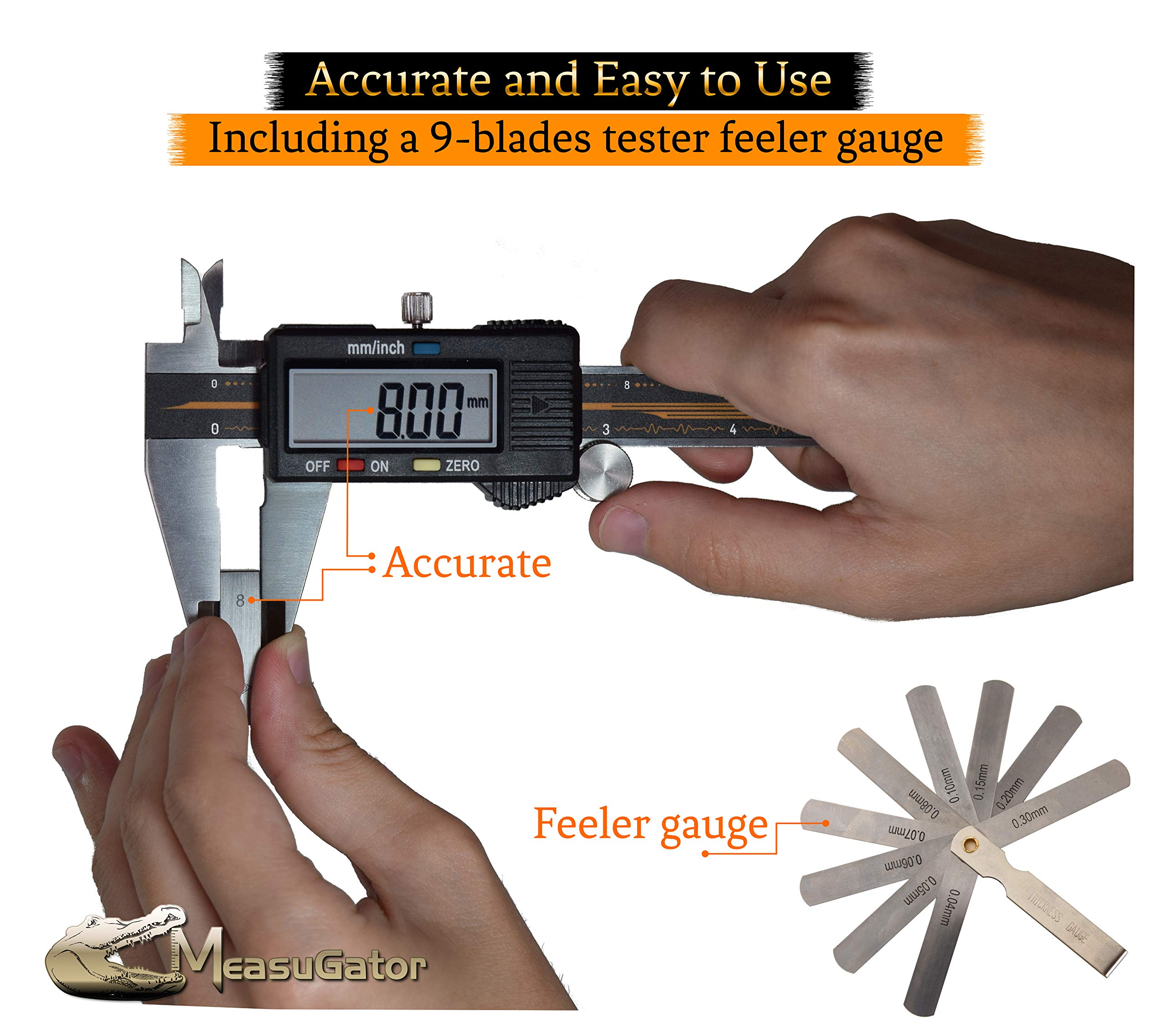 MeasuGator Lambda Digital Caliper, 3 Addons, Verifiable Accuracy, Automatic Off/On, 6 Inch/150 mm Range, SAE/Metric Modes, Premium Quality Stainless Steel Calipers, w/Spare Batteries, Feeler Gauge by MeasuGator (Image #1)