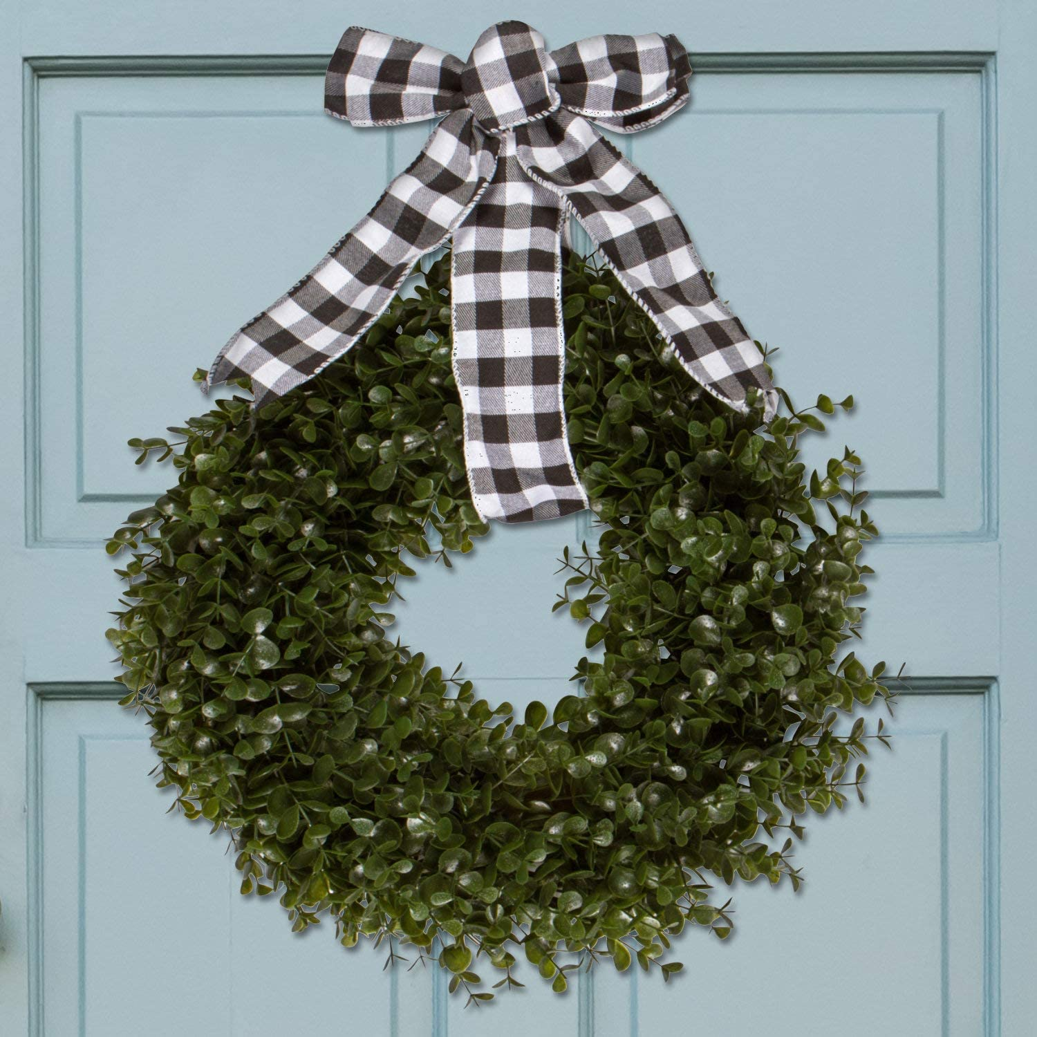 Orchid & Ivy 17-Inch Green Artificial Boxwood Wreath with Black/White Plaid Hanging Ribbon - Outdoor Indoor All-Weather Farmhouse Decor Front Door Wall Hanging Christmas Decoration