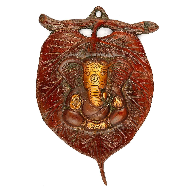 Amazon com leaf ganesha plate hindu lord metal patta ganesh wall
