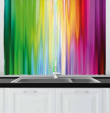 Ambesonne Rainbow Kitchen Curtains, Abstract Colors Looking Like Flowing  Into One Another Rainbow Color Schemed