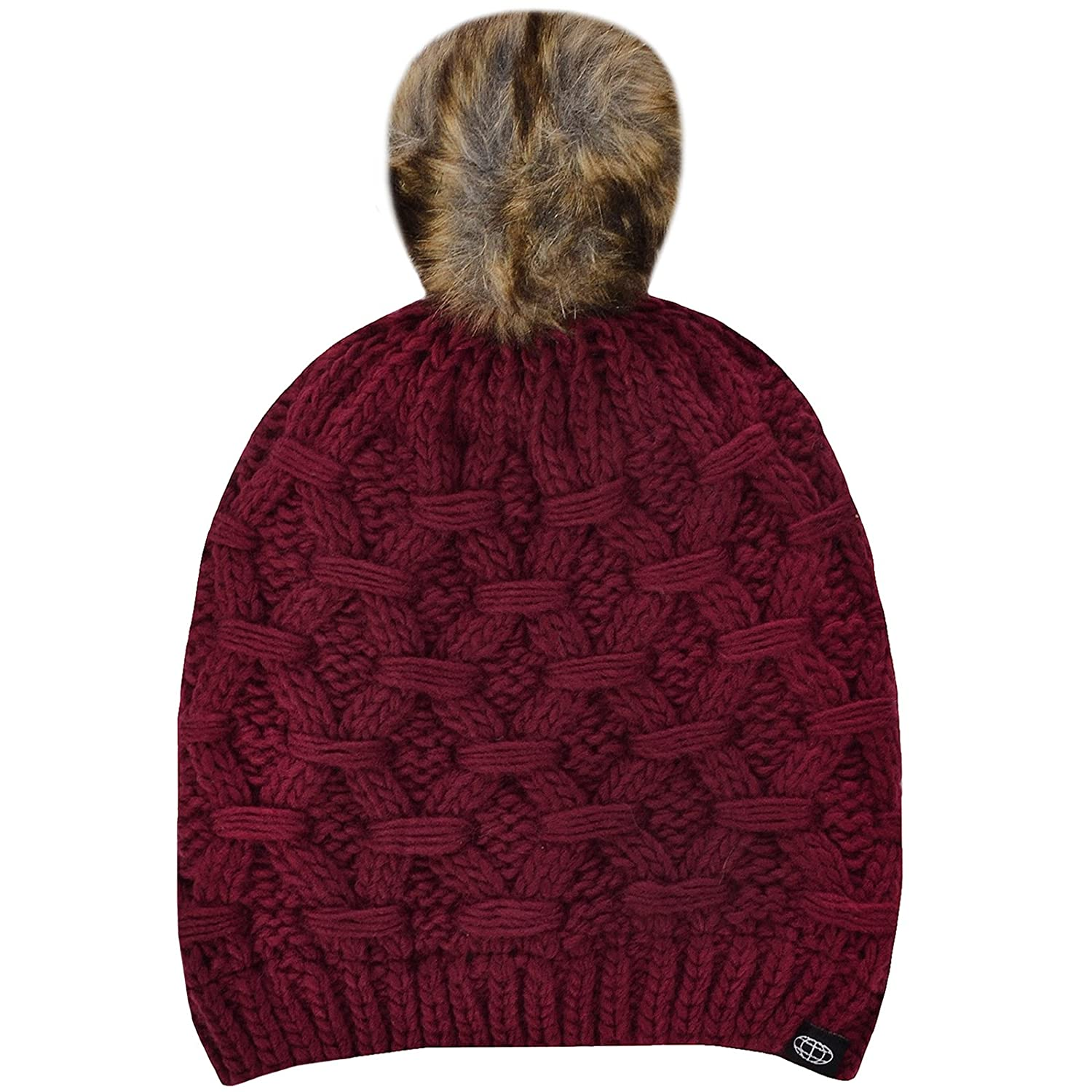 7b23a0743 ProClimate Womens Thinsulate Waterproof Knitted Bobble Hat - Claret ...