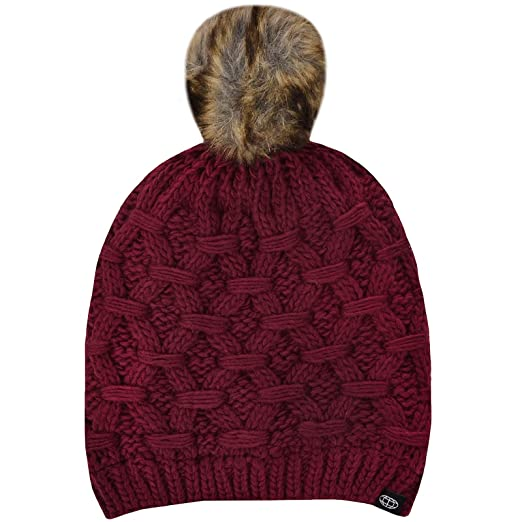 5e9fde46983 ProClimate Womens Thinsulate Waterproof Knitted Bobble Hat - Claret ...