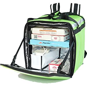 """PK-76F: Doubledeck Insulated Pizza/Food Delivery Backpack Bag, 16""""x 15""""x 18"""",with a Cup Holder. A Glossy Waterproof, Collapsible Food Take-Out Box for Catering, Restaurant Delivery, 76Liters(Green)"""
