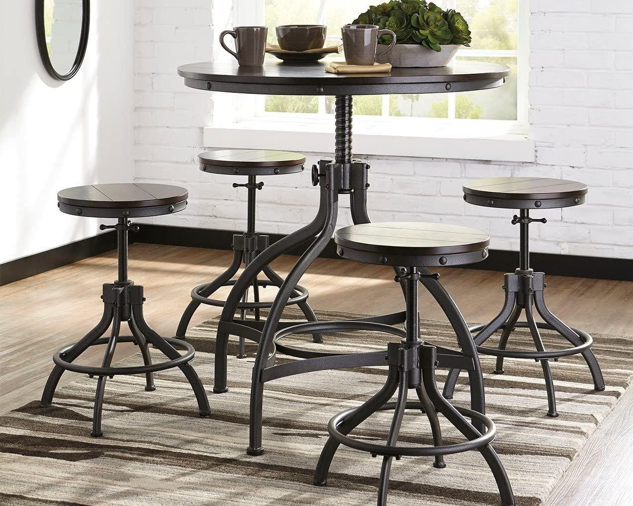 Ashley Furniture Signature Design – Odium Counter Height Dining Room Table and Bar Stools Set of 5 – Brown