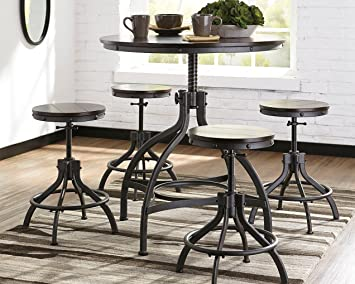 separation shoes 12363 df202 Ashley Furniture Signature Design - Odium Counter Height Dining Room Table  and Bar Stools (Set of 5) - Brown