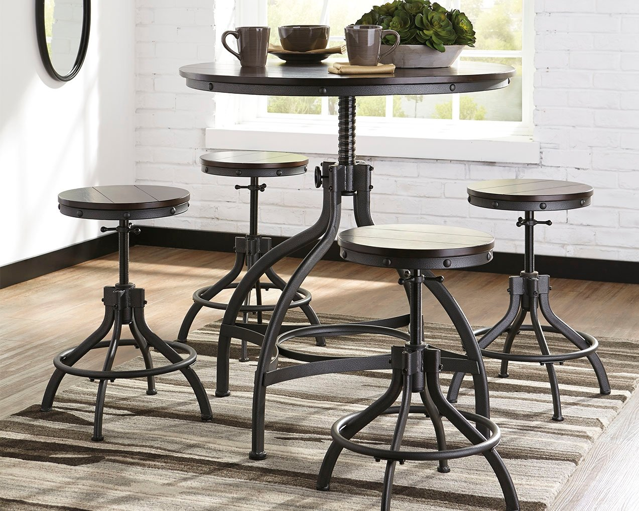 Ashley Odium Collection D284-223 5-Piece Bar Table Set with Adjustable Height Table and 4 Adjustable Height Stools in