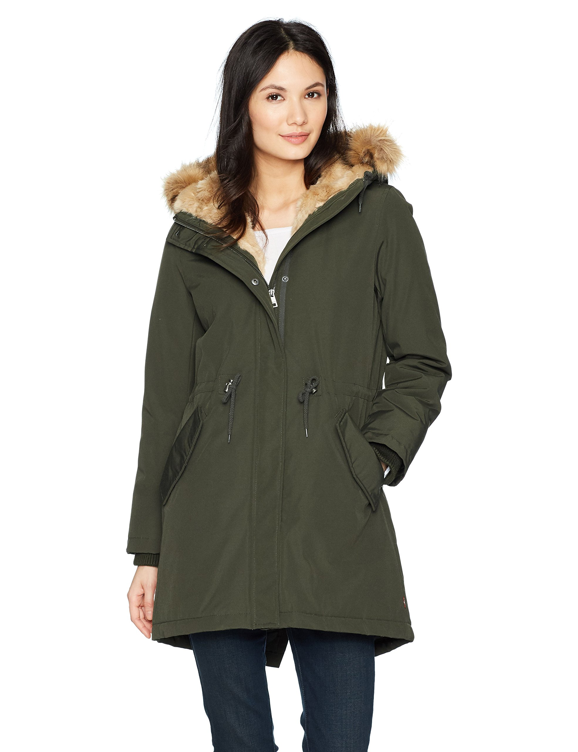 Levi's Women's Faux Fur Lined Hooded Parka Jacket, Olive, Medium