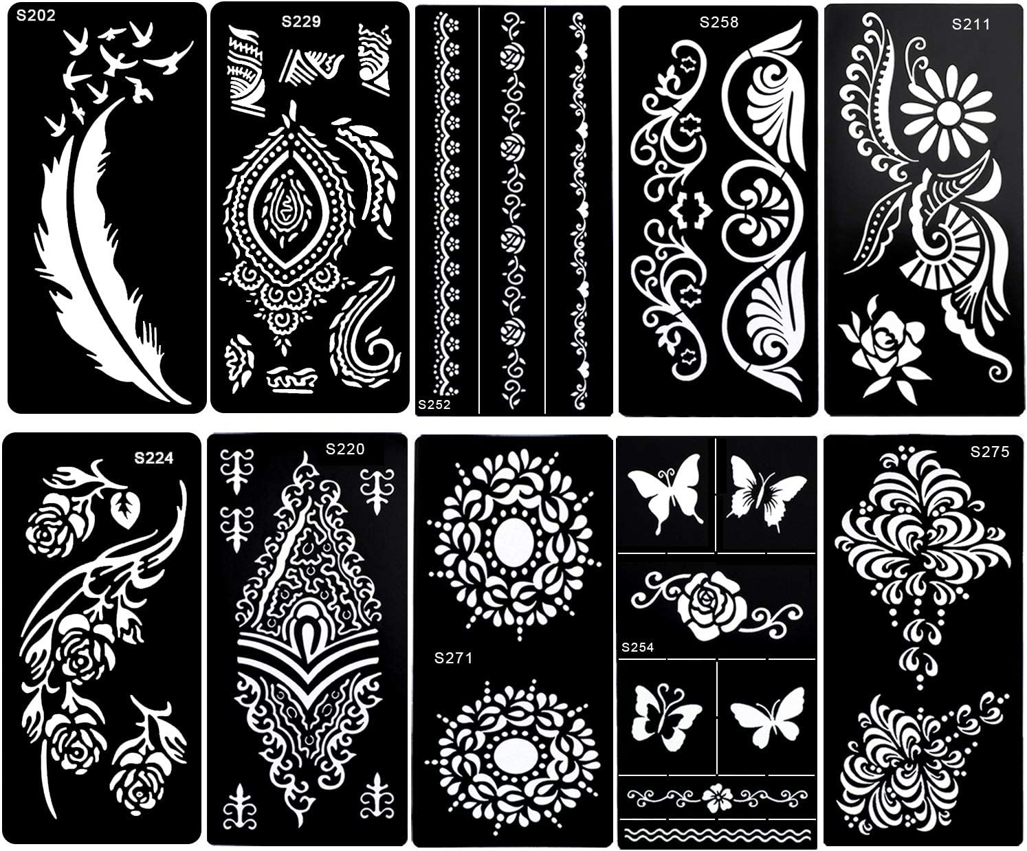 Konsait 10 Sheets Henna Temporary Tattoo Stencils Reusable Henna Tattoo Sticker Template Feather Butterfly Mandala Flower Jewelry Face Body Art Glitter Tattoo Stencil Kit For Adults Women Girls Amazon Co Uk Beauty Free delivery and returns on ebay plus items for plus members. konsait 10 sheets henna temporary tattoo stencils reusable henna tattoo sticker template feather butterfly mandala flower jewelry face body art