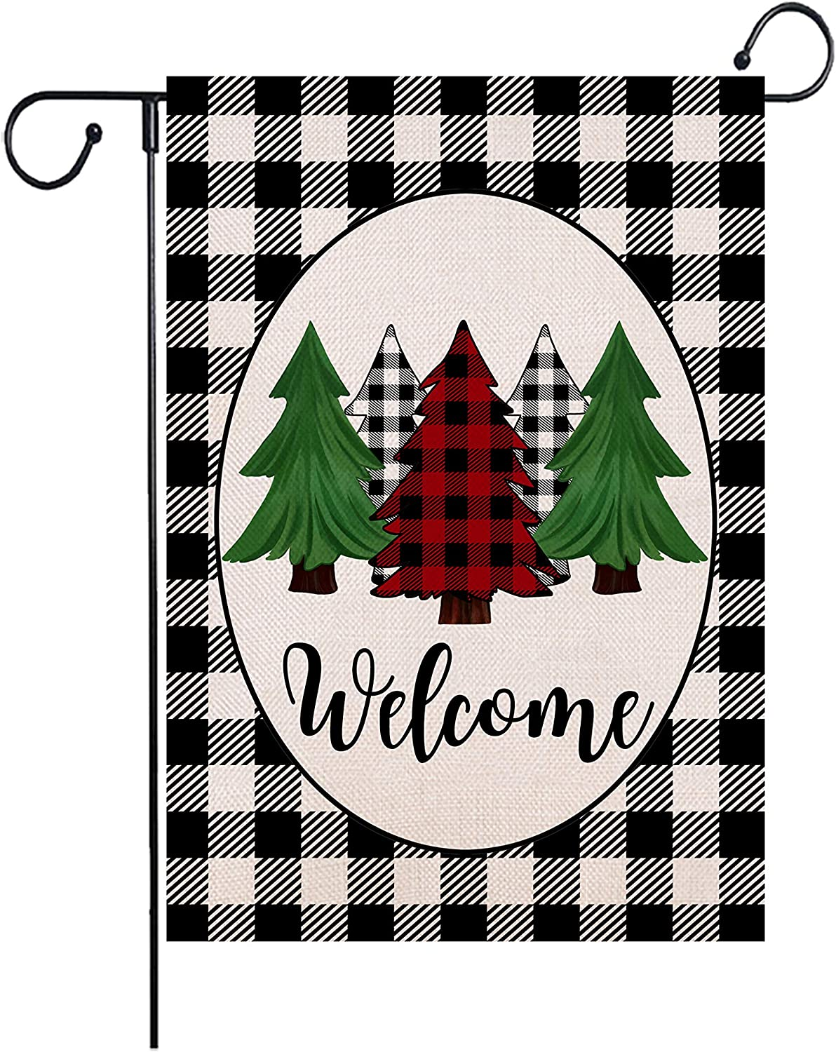 Wencal Buffalo Check Plaid Welcome Christmas Trees Garden Flag Double Sided Winter Farmhouse Xmas Outdoor Decorations 12.5 x 18 Inches
