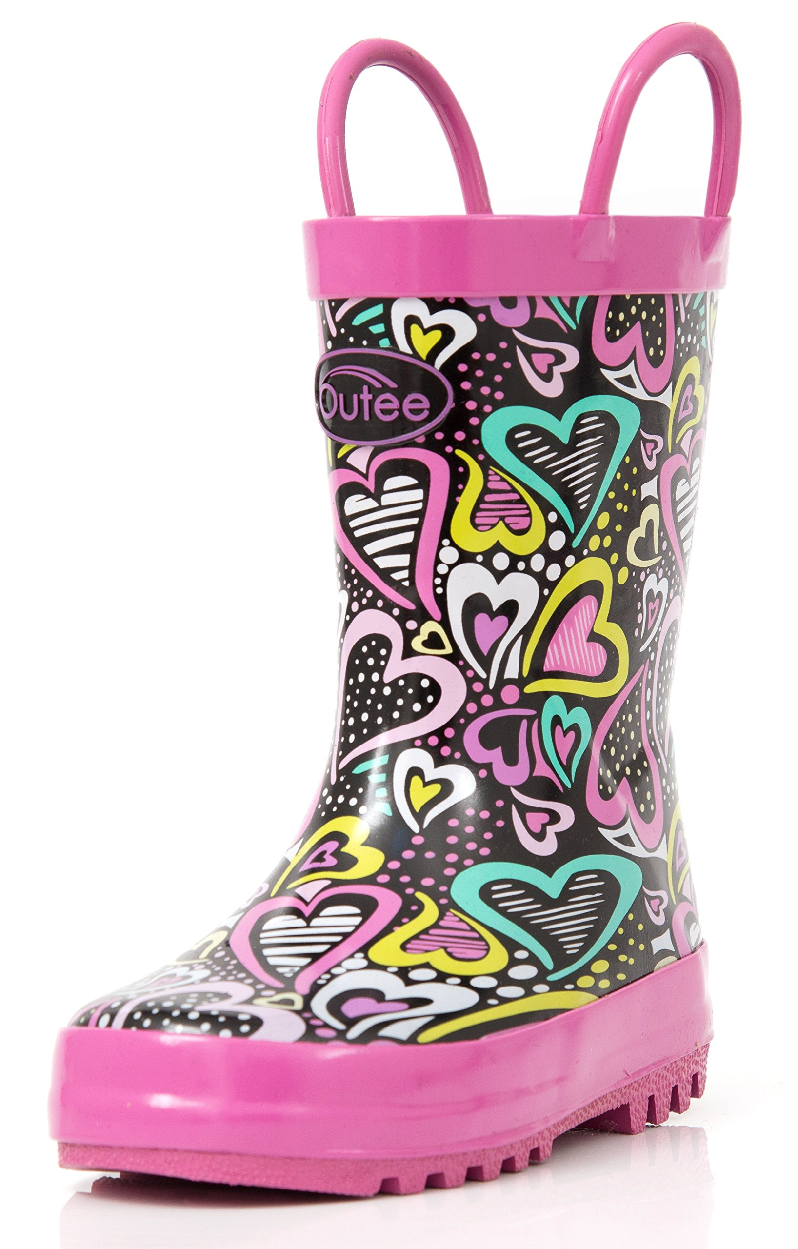 Outee Toddler Girls Kids Rain Boots Rubber Waterproof Shoes Printed Colorful Heart Cute Print with Easy-On Handles (Size 9,Purple)