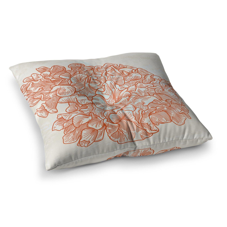 Kess InHouse Sam Posnick Lettuce Coral Orange Beige 26 x 26 Square Floor Pillow