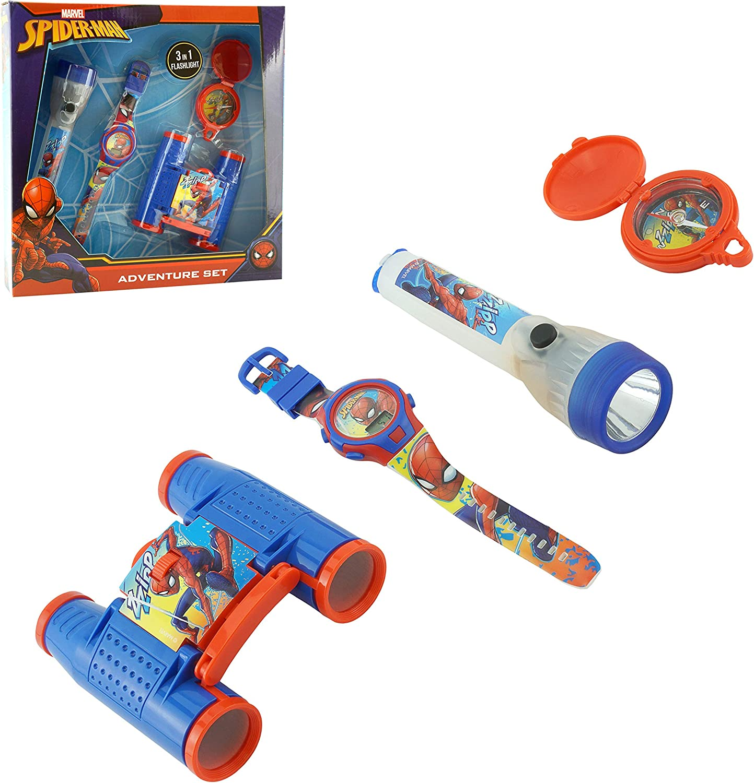 Binoculars Watch Flashlight Torch Compass for Kids 3+ Years SRV Hub/® Disney Character Marvel Spiderman Adventure Set for Kids 4pcs Outdoor Explorer Kit