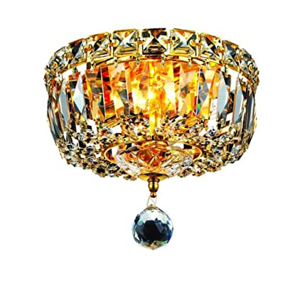 750ad09d3 Elegant Lighting 2528F8G/RC Tranquil 7-Inch High 2-Light Flush Mount, Gold  Finish with Crystal (Clear) Royal Cut RC Crystal - Close To Ceiling Light  ...