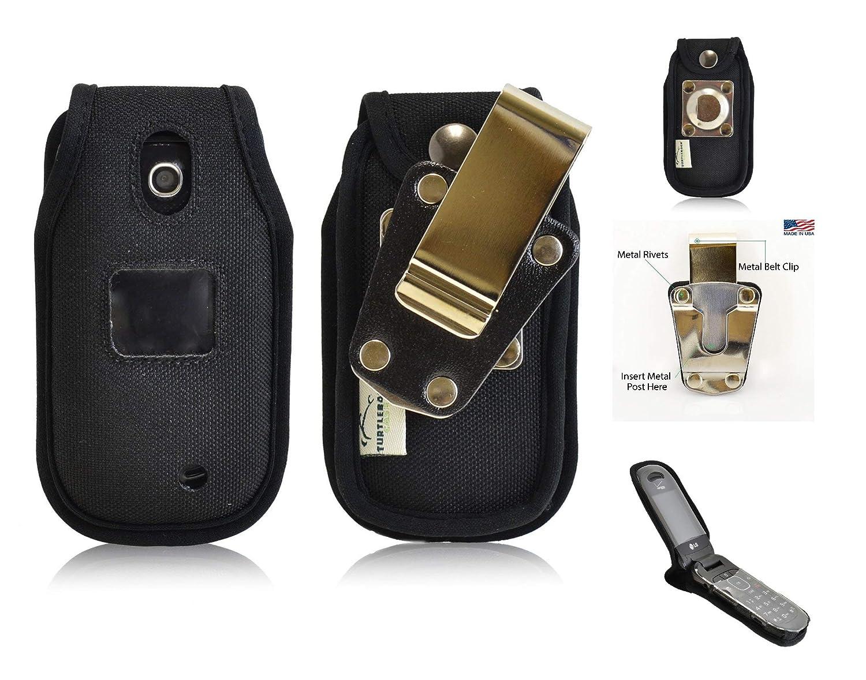 LG Revere 3 VN170 for Flip Phone Rugged Heavy Duty Fitted Cover Case W/Metal Clip-Turtleback (Black-Nylon)