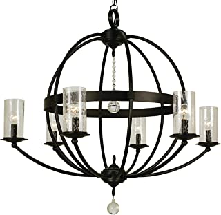 product image for Framburg 1077 MB 6-Light Compass Foyer Chandelier, Mahogany Bronze