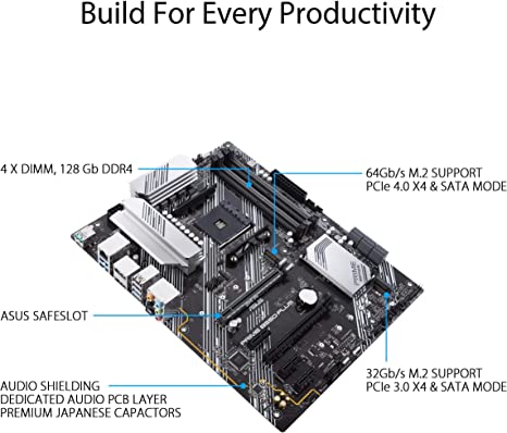 ASUS PRIME B550-PLUS - Placa base ATX AMD AM4 con disipación VRM MOS, PCIe 4.0, doble M.2, 1 GB LAN, HDMI/DP, SATA 6 Gbps, USB 3.2 Gen 2 Type-A y Type-C, cabezal
