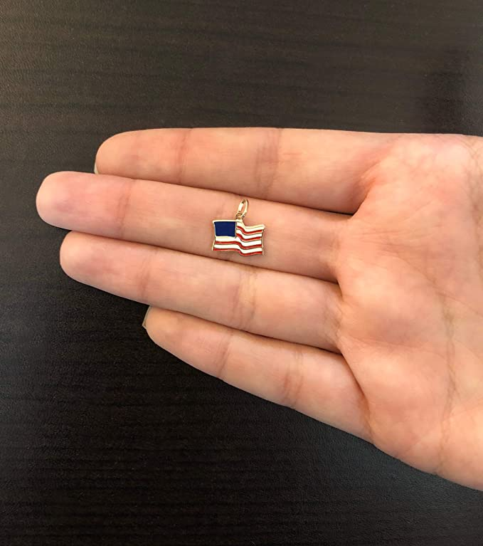 Carol Jewelry 14k Solid Yellow Gold Enamel United States USA Flag Pendant for Necklace for Teens Men Seniors Women