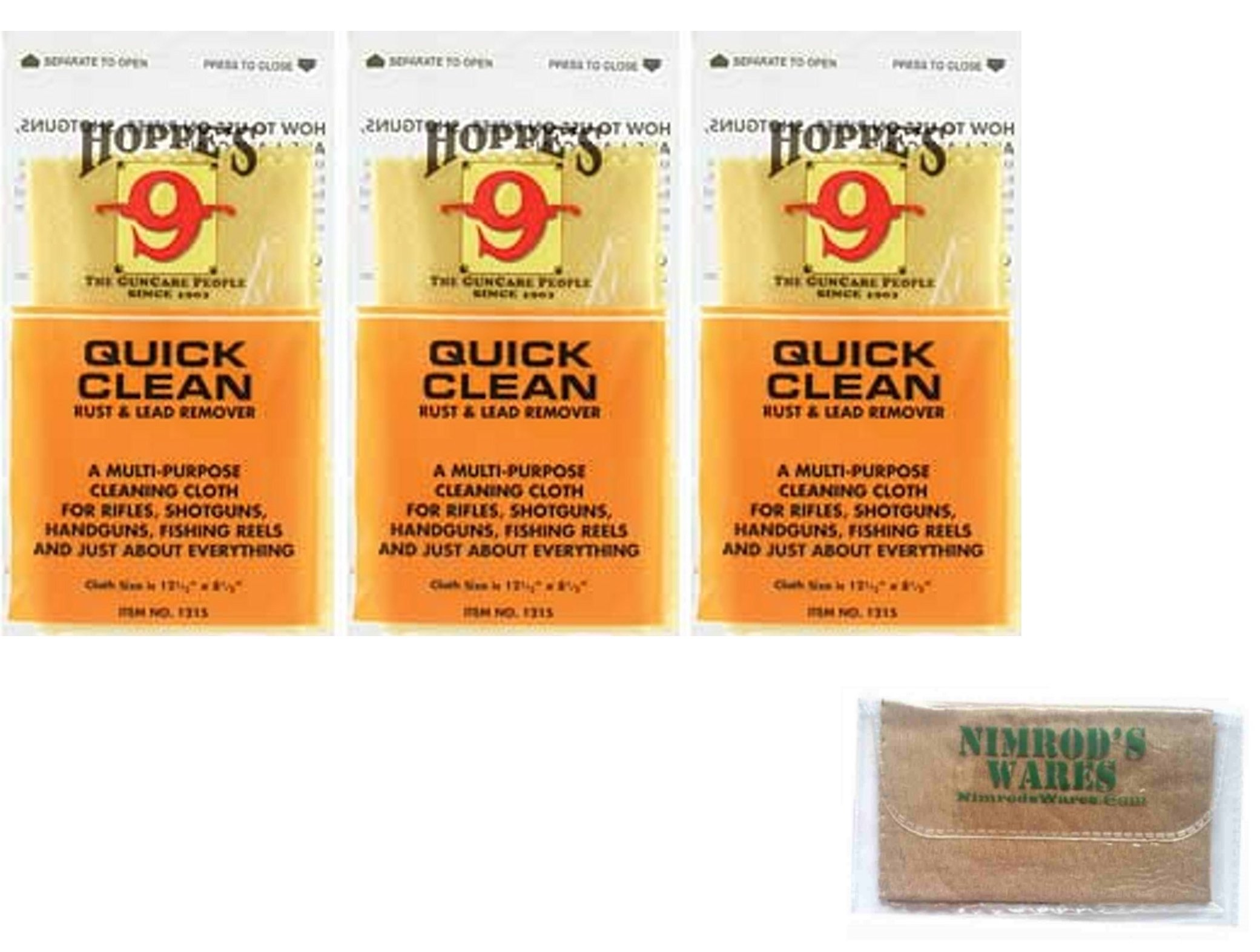3-PACK Hoppe's Quick Clean RUST & LEAD Remover Cloths 1215 + Nimrod's Wares Microfiber Cloth