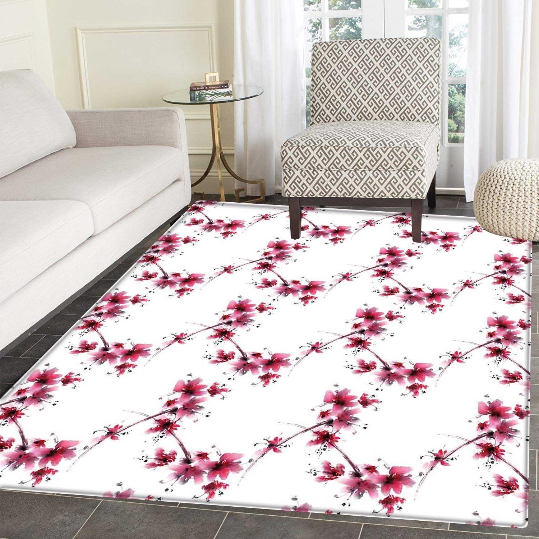 9c90c1c0b332 Amazon.com: Asian Floor Mat Pattern Watercolors Petal Flower ...
