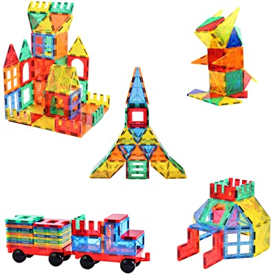 120pcs Blazing Studio Magnetic Tiles with CAR, Strongest Magnets, Storage Bag, Sturdy Safe Construction Children's 3D STEM Toy: Toys & Games