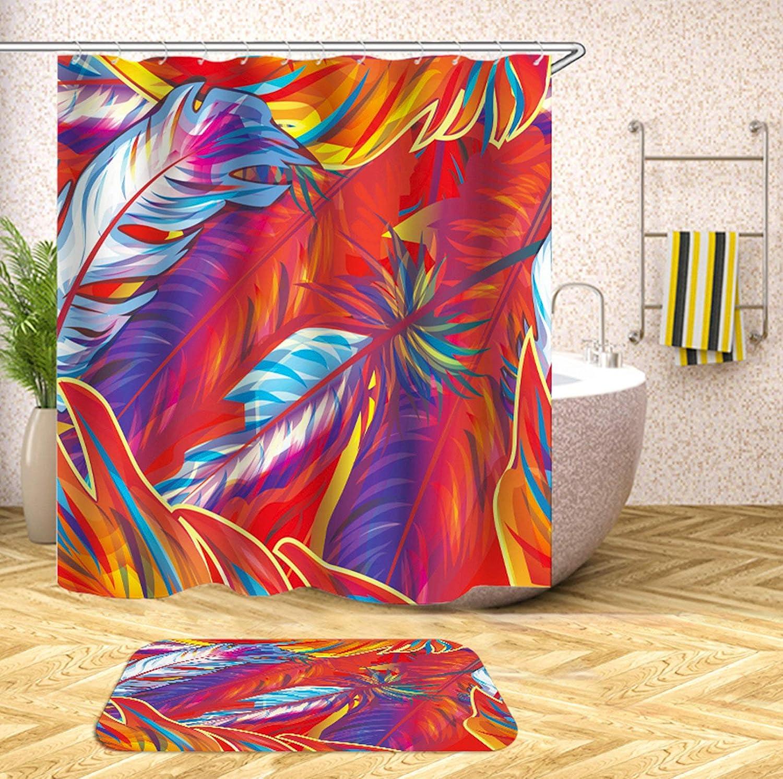 KnSam Duschvorhang Anti-Schimmel Wasserdicht Vorh/änge An Badewanne Bad Vorhang f/ür Badezimmer Farbige Bananenbl/ätter 100/% Polyester inkl 12 Duschvorhangringen 90X180cm