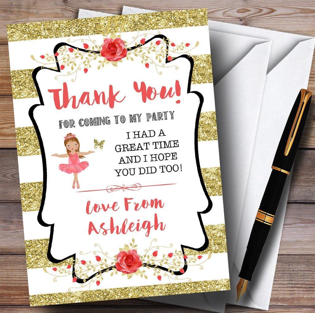 Gold Stripes Ballerina Ballet Party Thank You Cards