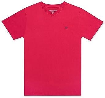 Calvin Klein Boys' Big Crew Neck Tee Shirt, Light red, Small (8)