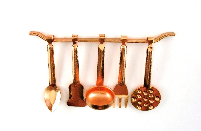 Amazon.es: Colgador y Utensilios de Cocina de Cobre en Miniatura ...