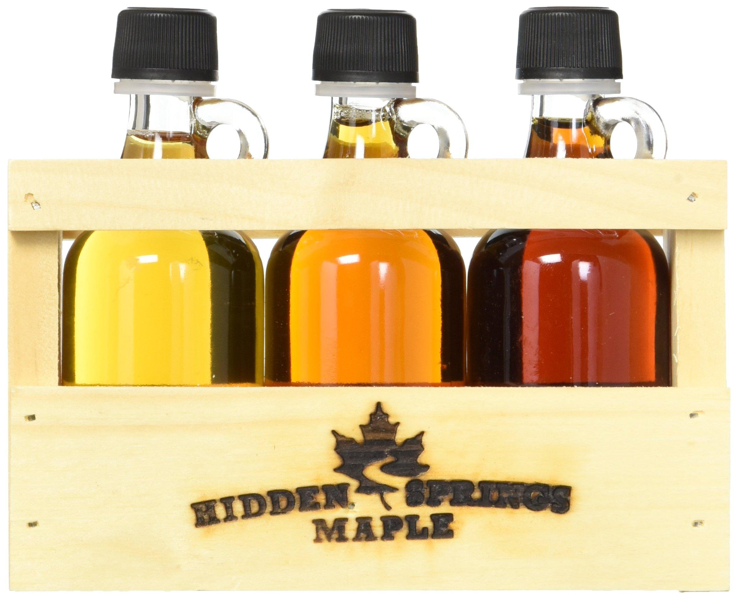 Hidden Springs Maple Deluxe Syrup Sampler, Golden/Amber/Dark, 3 Count