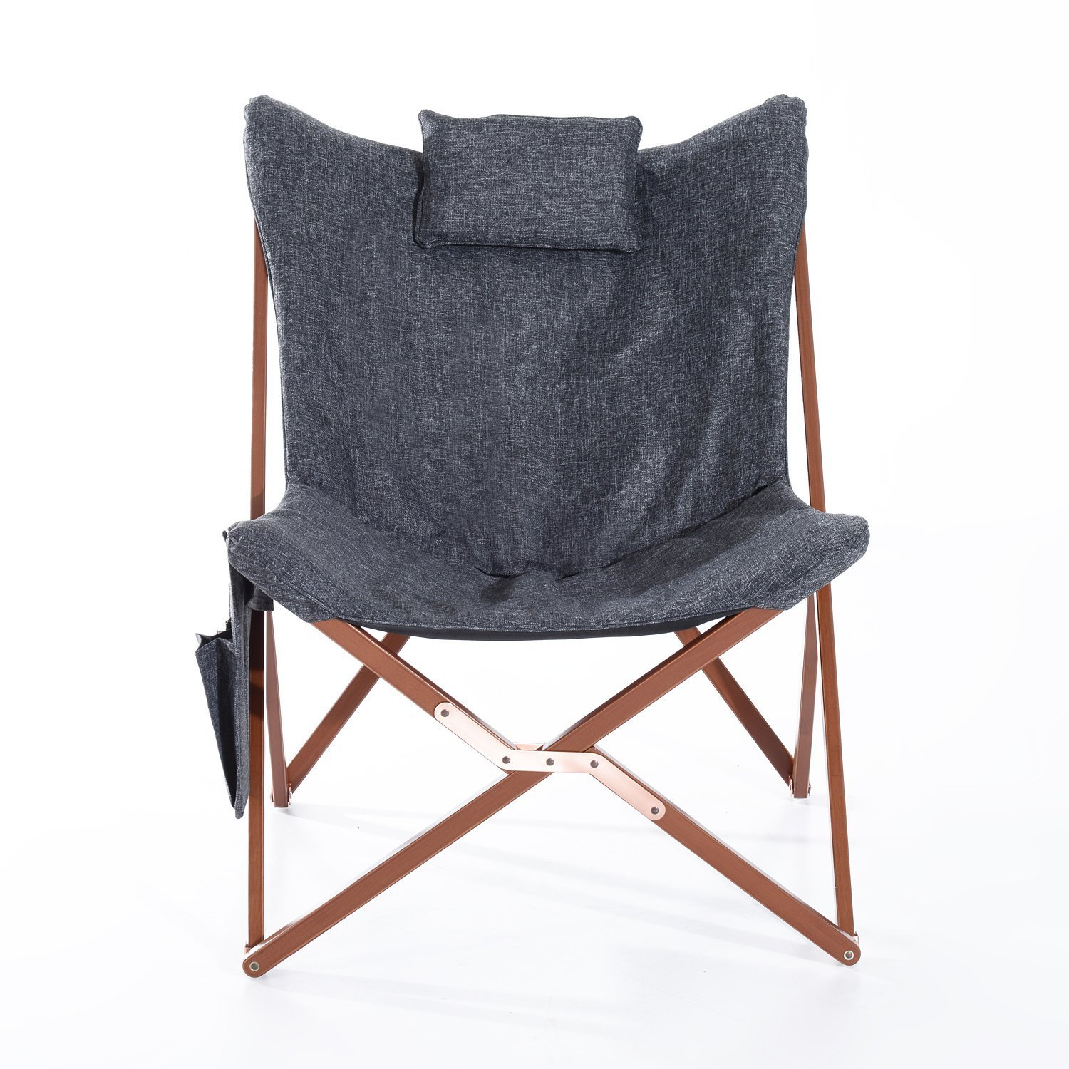 "Amazon Hom 37"" Fabric Folding Butterfly Chair Dark Gray"