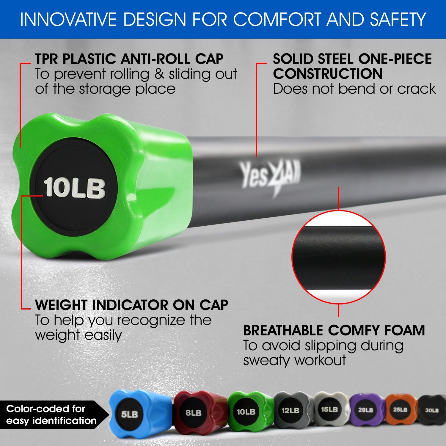 Yes4All Total Body Workout Weighted Bar / Weighted Workout Bar – Great for Physical Therapy, Aerobics and Yoga – Weighted Exercise Bar (10 lbs) by Yes4All (Image #3)