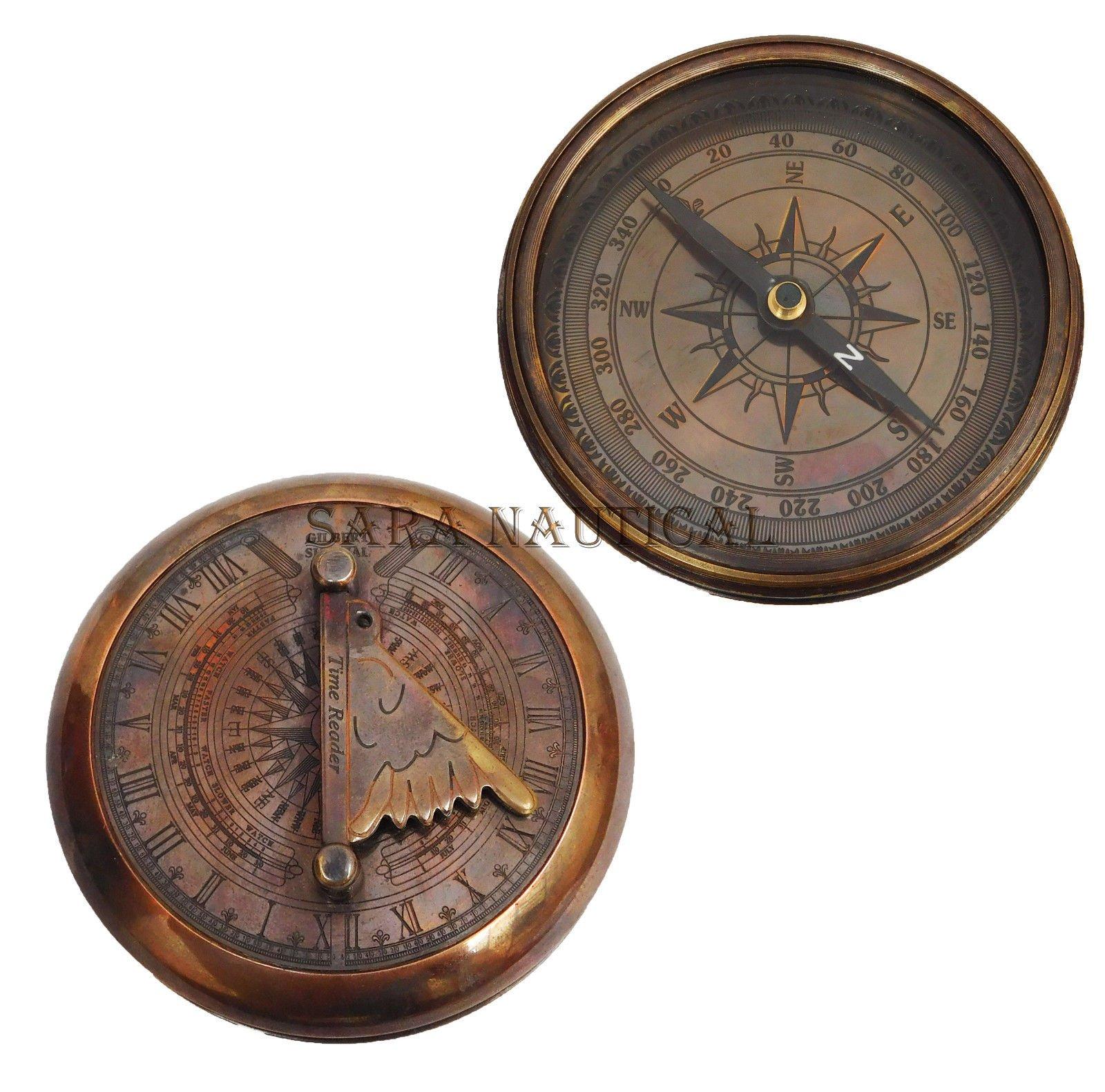 Sara Nautical Nautical Copper Antique Maritime Sundial Compass Gilbert Sundial Vintage Replica