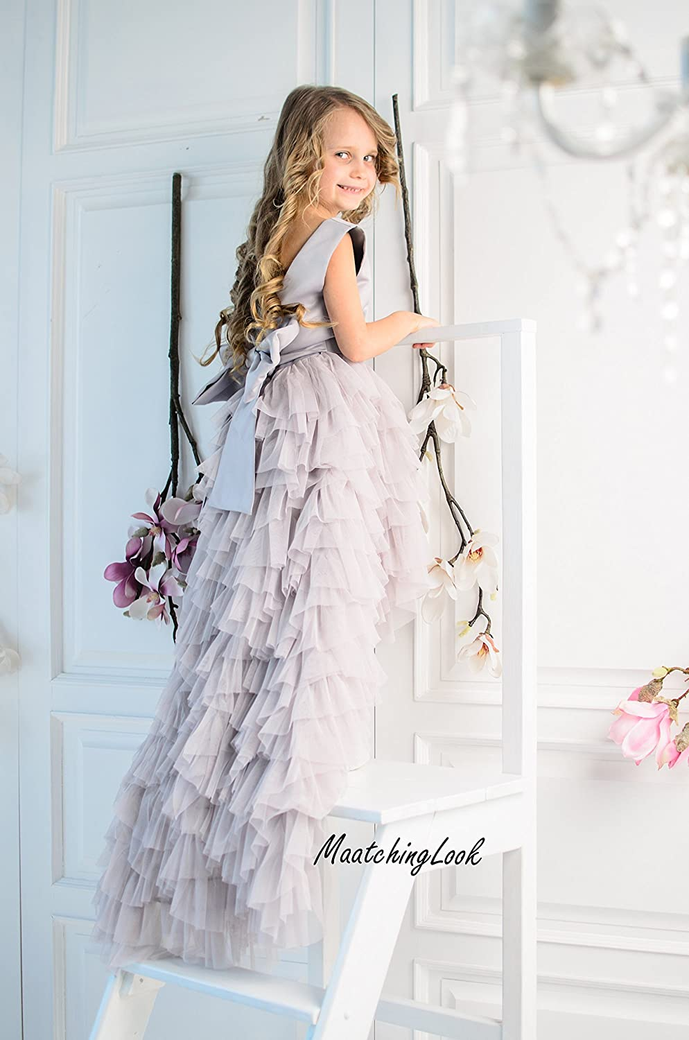 37fea888611 Amazon.com  Grey Flower Girl Dress Tulle Dress