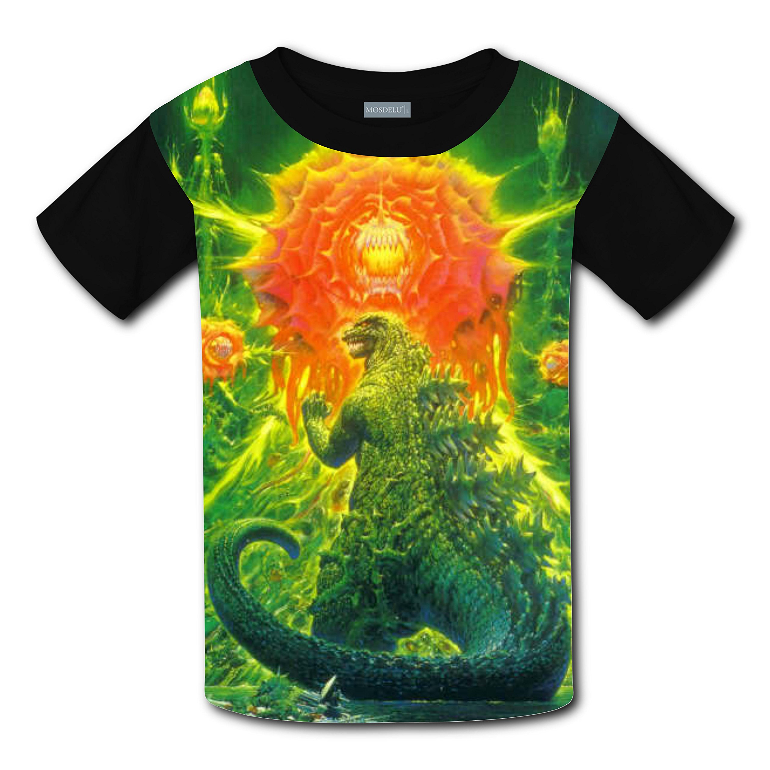 Unisex Kids Godzilla 3D Printed Round Collar Short Sleeve T- Shirt