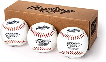 Amazon.com: Rawlings Youth Tball or Training Baseballs, Box of 3 Tballs,  TVBBOX3, White, Official Size: Sports & Outdoors