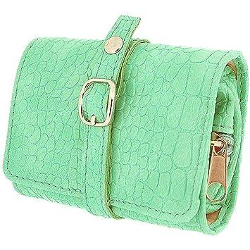 Mele para mujer-niña verde menta de viaje compacto joyero de ...
