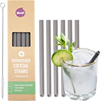 Slurp Straw 6 Pack and Cleaning Brush, 5.25-inch Short Reusable Silicone Drinking Straws or Stirrers for Cocktails, Coffee, Small Glasses and Cups - Food Grade Silicone - Smoke Grey
