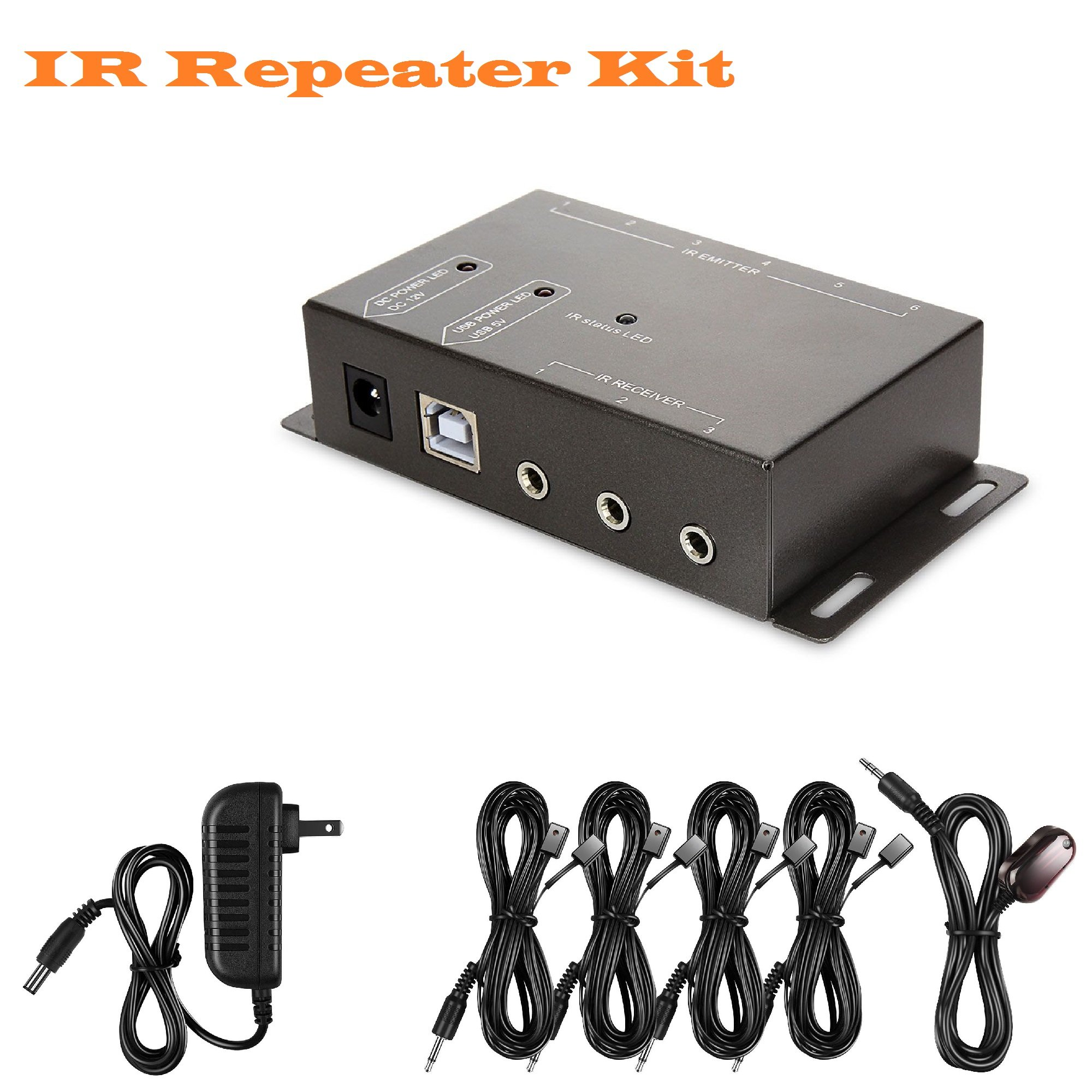 Amanka Infrared (IR) Remote Control Repeater Remote Control Extender Kit to Control up to 8 Hidden A/V Devices (Black)