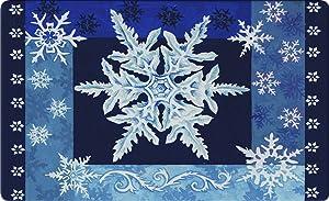 Toland Home Garden Cool Snowflakes 18 x 30 Inch Decorative Floor Mat Blue Winter Snow Holiday Doormat - 800111