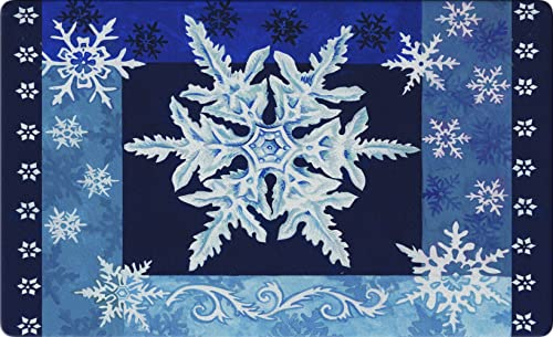 Toland Home Garden Cool Snowflakes 18 x 30 Inch Decorative Floor Mat Blue Winter Snow Holiday Doormat – 800111