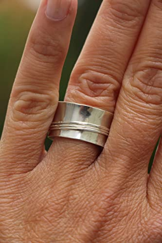 Statement rings Chunky spinner ring Brushed ring Wide ring 17MM Wide spinner ring Double ring Argentium silver 935 Double band ring