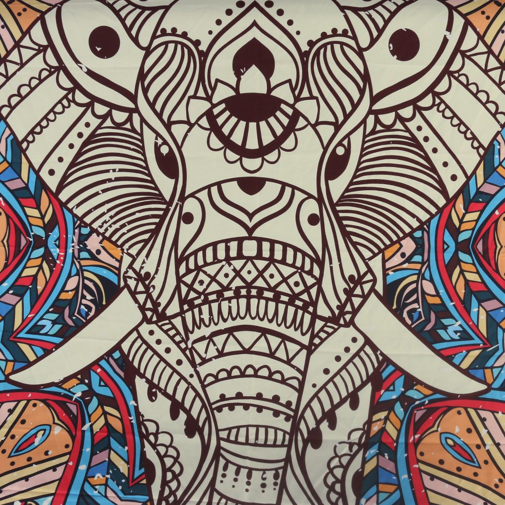 Mandala Elephant Tapestry - Indian Bohemian Hippie Art Wall Hanging White Home Decor Multipurpose Cloth as Bedspread, Backdrop, Room Divider - Queen Size, 80 x 60 inches