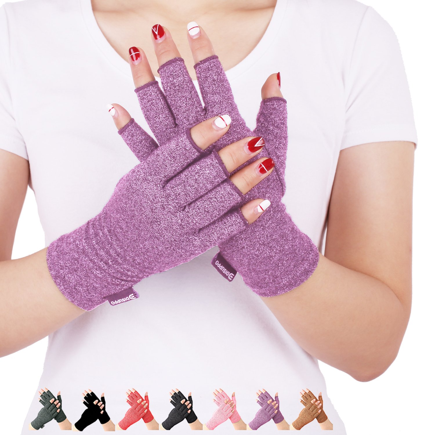 Arthritis Compression Gloves Relieve Pain from Rheumatoid, RSI,Carpal Tunnel, Hand Gloves Fingerless for Computer Typing and Dailywork, Support For Hands And Joints (Purple, Large)
