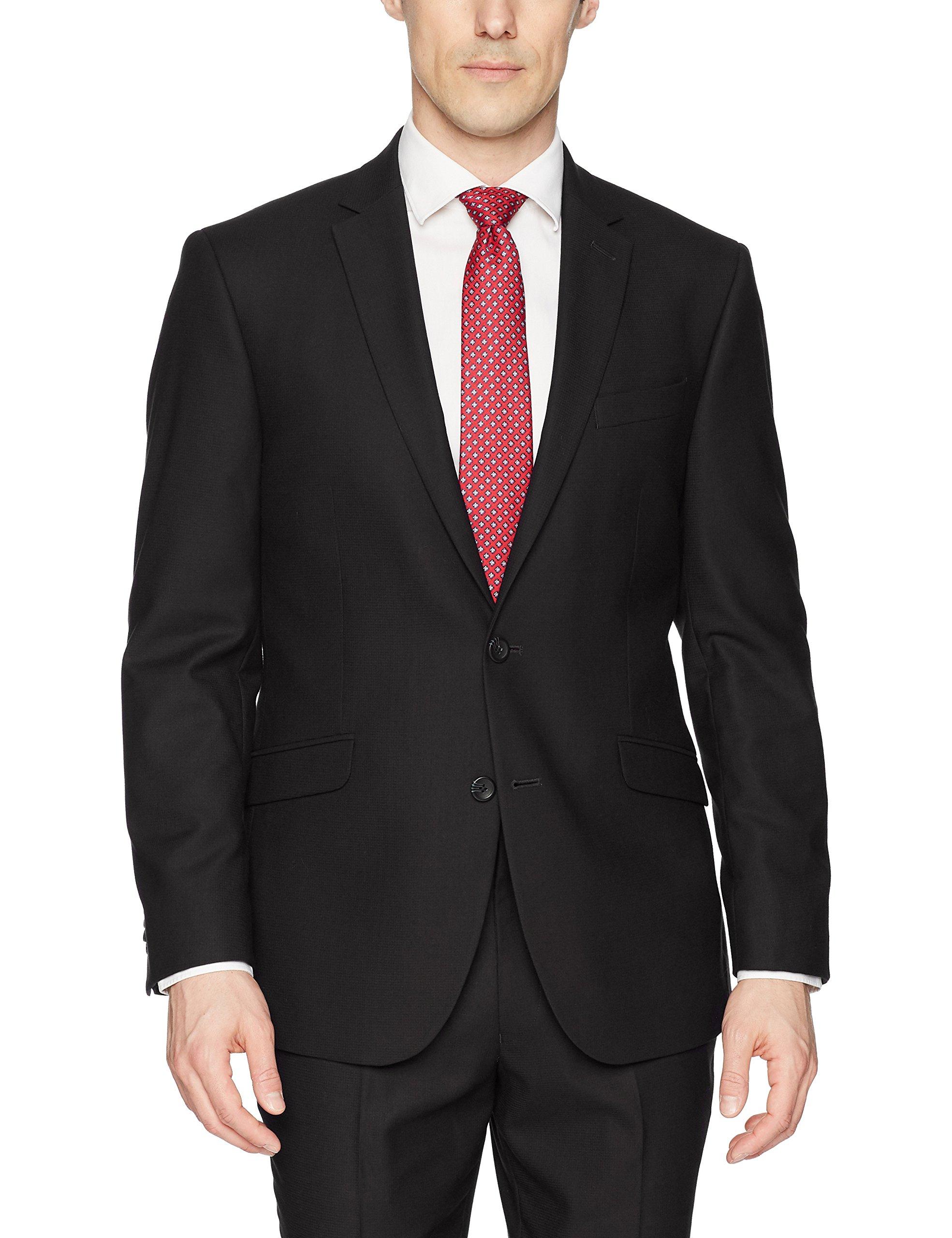 Kenneth Cole REACTION Men's Techni-Cole Stretch Slim Fit Suit Separate Blazer (Blazer, Pant, and Vest), Black, 46 Regular