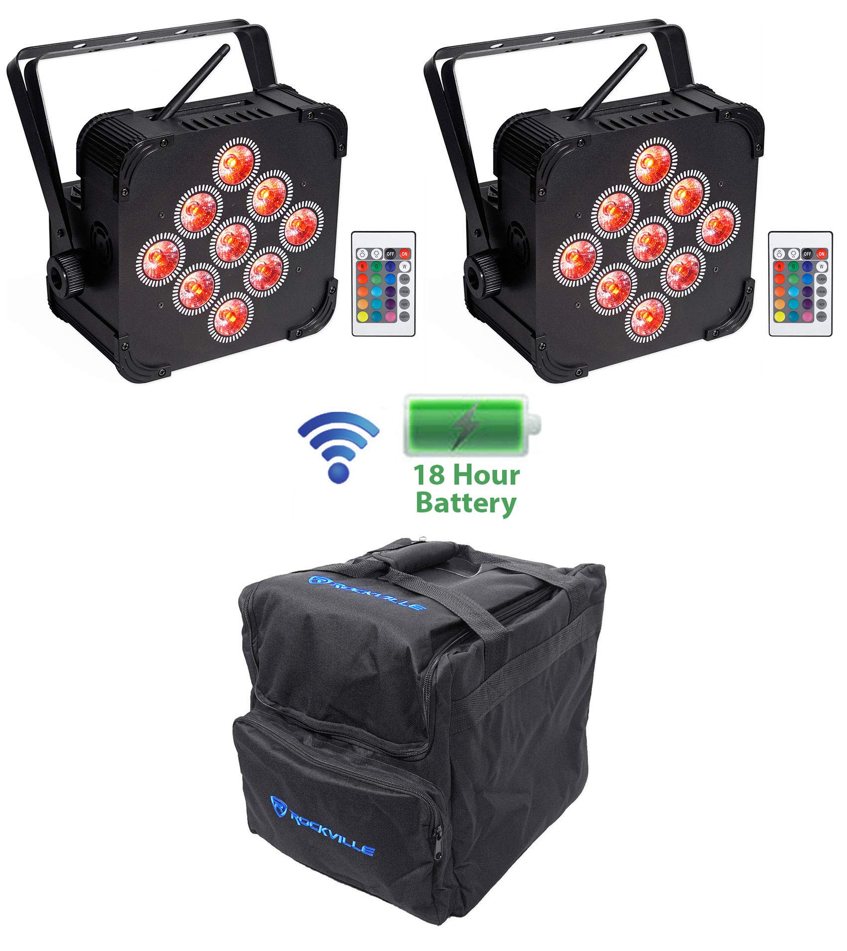 (2) Rockville BEST PAR 60 Rechargeable Wash Lights w/Wireless DMX+RGBWA+UV+Bag by Rockville