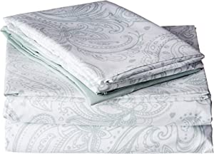 Chic Home Welford 4 Pc Microfiber Vintage Paisley Sheets, Twin, Green, 4 Piece