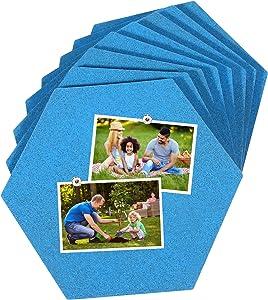 Famistar Hexagon Cork Board Tiles 8 Pack Blue Colour Mini Wall Bulletin Board with 50 Push Pins